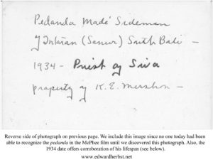 Reverse Side of Pedanda Made Sidemen Photograph